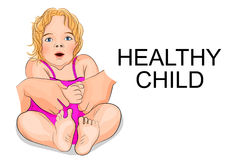 A healthy baby - girl in pink dress. Illustration of a healthy baby - girl in pink dress and with blonde hair Stock Photos