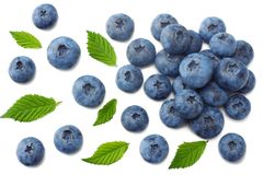 Healthy background. blueberries with leaves isolated on white background. top view royalty free stock photos