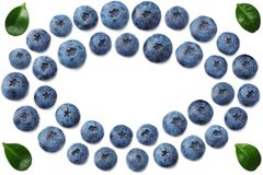 Healthy background. blueberries with leaves isolated on white background. top view with copy space royalty free stock photos