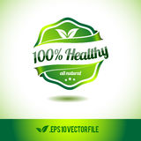100% healthy badge label seal. Stamp logo text design green leaf template eps vector illustration