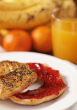 Healthy bagel and strawberry jam Royalty Free Stock Image