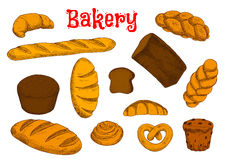 Healthy bakery and pastry sketches Stock Image