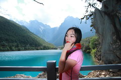 Healthy balance life, Asian Chinese woman enjoy free time at Blue-Moon Valley White Water River Stock Photo