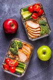 Healthy balanced lunch box with chicken, rice, vegetables royalty free stock photos