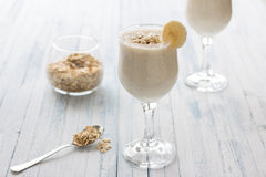 Healthy banana smoothies with oatmeal Stock Photo