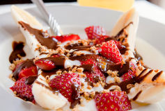 Healthy banana split Royalty Free Stock Photography
