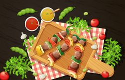 Healthy Barbecue On Woden Board Royalty Free Stock Photography