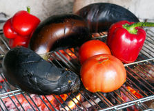 Healthy barbeque of different sliced vegetables Royalty Free Stock Photo