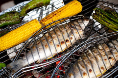 Healthy BBQ. A selection of food ready for the BBQ typical of a mediterranean diet Stock Photos