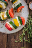 Healthy bbq, vegetable and haloumi cheese skewers Royalty Free Stock Images