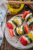 Healthy bbq, vegetable and haloumi cheese skewers Stock Photos