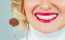 Healthy beautiful female smile. Teeth health, whitening royalty free stock photography