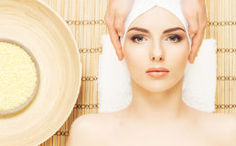 Healthy and beautiful girl getting spa treatment. Woman in spa s Royalty Free Stock Images
