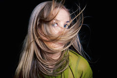 Healthy beautiful long hair in motion Royalty Free Stock Photography