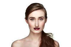 Healthy beauty female Model with dark red Lips Stock Photos