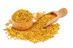 Healthy bee pollen on white. Healthy bee pollen isolated on white stock photography