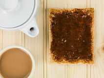 Healthy Beef Extract or Marmite Spread on Toast With a Cup of Tea stock photography