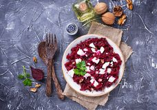 Healthy beetroot salad with feta and walnuts Stock Image