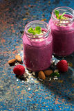 Healthy berry smoothie in a bottle on a dark background. Vertical, top view Stock Images