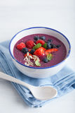 Healthy berry smoothie bowl with strawberry blueberry raspberry Stock Image