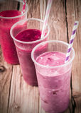 Healthy berry smoothies with low fat yogurt Stock Images