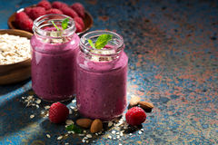 Healthy berry smoothies with oatmeal, closeup Royalty Free Stock Image