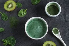 Healthy beverage made from green raw ingredients stock photography