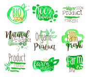 Healthy Bio Food Promo Signs Colorful Set. Of Watercolor Stylized Logo With Text On White Background Royalty Free Stock Image