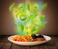 Healthy bio green plate of food Royalty Free Stock Images