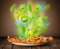Healthy bio green plate of food Stock Photos
