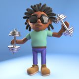Healthy black Afro Caribbean man with dreadlocks stays healthy lifting weights, 3d illustration. Render royalty free illustration