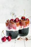 Healthy Black Forest dessert. Black activated charcoal chia pudding with cherries, coconut cream and chocolate. Vegan breakfast Stock Image
