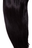 Healthy black straight hair. Texture of healthy black straight hair, soft focus Stock Images