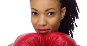 Healthy black woman boxer Stock Photos
