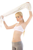 Healthy blonde woman over white Royalty Free Stock Photos