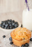 Healthy Blueberry Muffin Breakfast With Milk Royalty Free Stock Photography