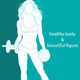 Healthy body and beautiful figure. Beautiful athletic girl with dumbbells Royalty Free Stock Photography