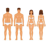 Healthy body type of man and woman in retro colors Stock Photos