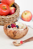Healthy bowl of muesli, apple, fruit and milk Royalty Free Stock Photography