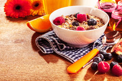 Healthy bowl of muesli and fresh berries Royalty Free Stock Photography