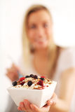 Healthy bowl of muesli, yoghurt and berries royalty free stock photography