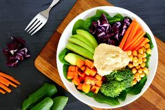 Healthy bowl with super-foods on slate background Royalty Free Stock Images