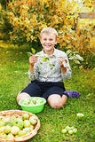 Healthy boy eating an apple Royalty Free Stock Photos