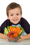 Healthy boy with vegetables Stock Photos