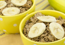 Healthy bran cereal and banana Royalty Free Stock Photos