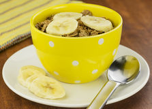 Healthy bran cereal and banana Stock Images