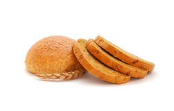 Healthy Bread. Whole grain bread and wheat ear isolated on a white background Royalty Free Stock Photography