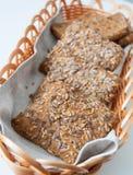Healthy bread. Pieces in a wicker bowl Royalty Free Stock Photos
