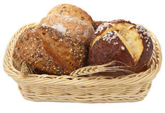 Healthy bread in basket isolated Royalty Free Stock Image
