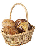 Healthy bread in basket isolated Royalty Free Stock Photos